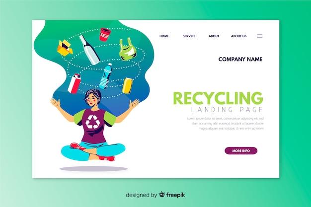 Modello di pagina di destinazione del riciclaggio disegnato a mano