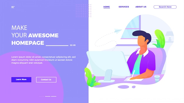 Modello di pagina di destinazione del servizio clienti e supporto in stile piatto