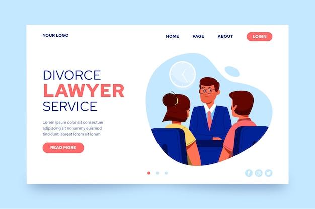 Modello di pagina di destinazione del servizio di avvocato divorzista
