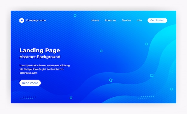 Modello di pagina di destinazione del sito web blu