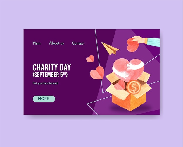Modello di pagina di destinazione del sito web con concept design della giornata internazionale della carità per comunità online e vettore dell'acquerello di internet.