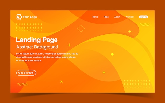 Modello di pagina di destinazione del sito web con sfondo arancione sfumato
