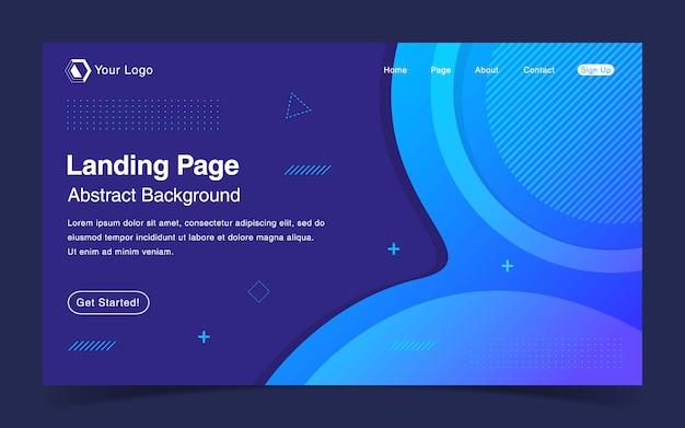 Modello di pagina di destinazione del sito web con sfondo blu sfumato