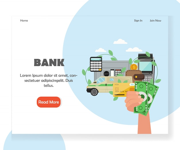 Modello di pagina di destinazione del sito web della banca