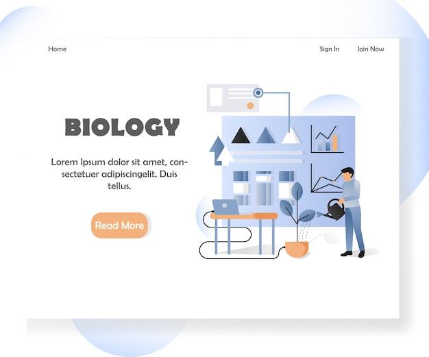 Modello di pagina di destinazione del sito web di biologia