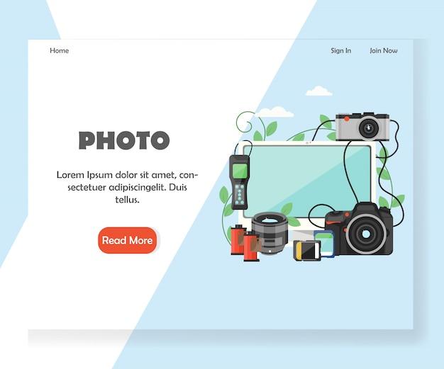 Modello di pagina di destinazione del sito web di fotografia