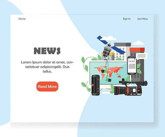 Modello di pagina di destinazione del sito web di notizie