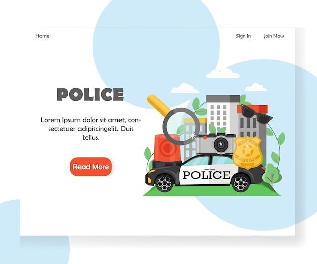 Modello di pagina di destinazione del sito web di polizia