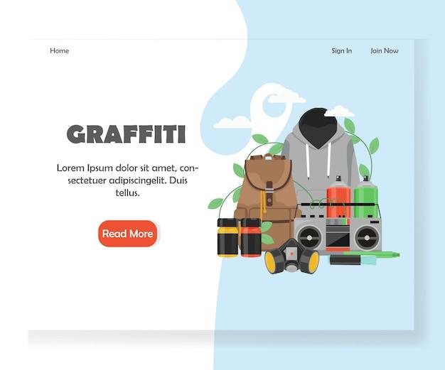 Modello di pagina di destinazione del sito web graffiti