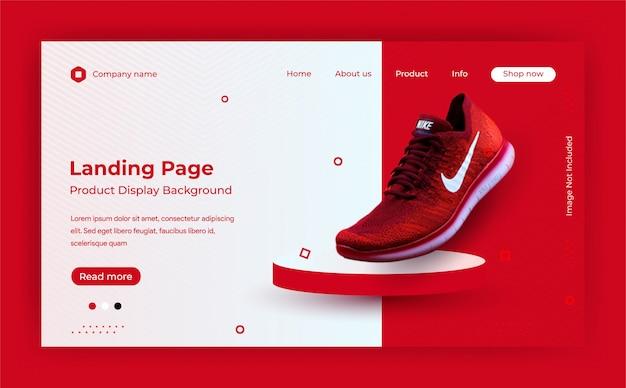 Modello di pagina di destinazione del sito web per lo sfondo di visualizzazione del prodotto