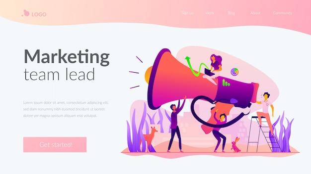 Modello di pagina di destinazione del team di marketing.