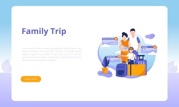 Modello di pagina di destinazione del viaggio di famiglia