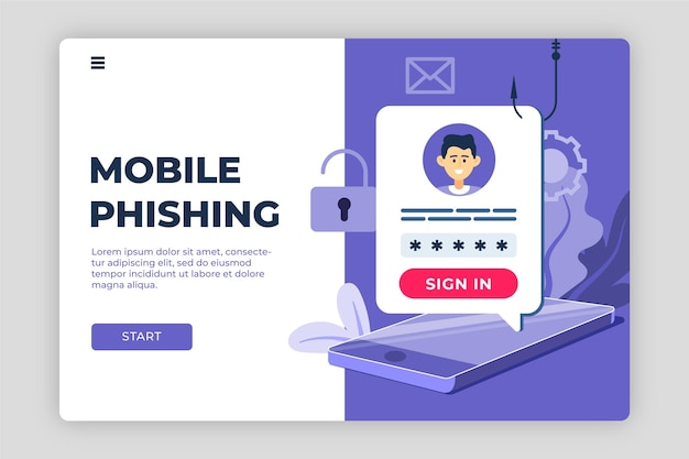 Modello di pagina di destinazione dell'account di phishing