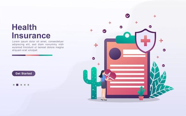 Modello di pagina di destinazione dell'assicurazione sanitaria in stile effetto sfumato