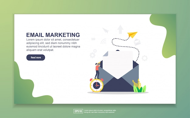 Modello di pagina di destinazione dell'email marketing. concetto di design moderno piatto di design della pagina web per sito web e sito web mobile.