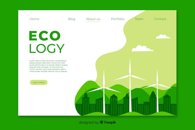 Modello di pagina di destinazione dell'energia pulita
