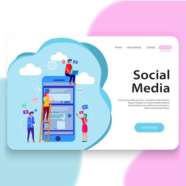 Modello di pagina di destinazione dell'illustrazione di mezzi di comunicazione sociale