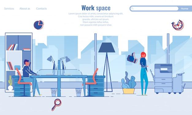 Modello di pagina di destinazione dell'organizzazione efficiente dell'area di lavoro
