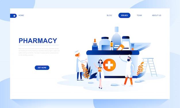 Modello di pagina di destinazione della farmacia con intestazione