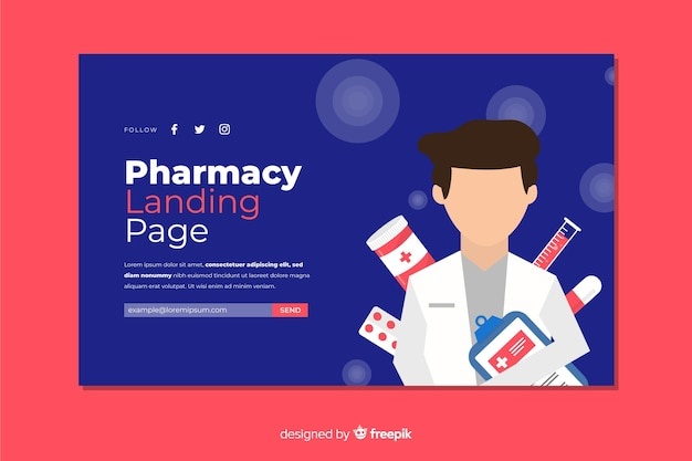 Modello di pagina di destinazione della farmacia online