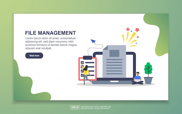 Modello di pagina di destinazione della gestione dei file. concetto di design moderno piatto di design della pagina web per sito web e sito web mobile