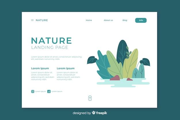 Modello di pagina di destinazione della natura creativa