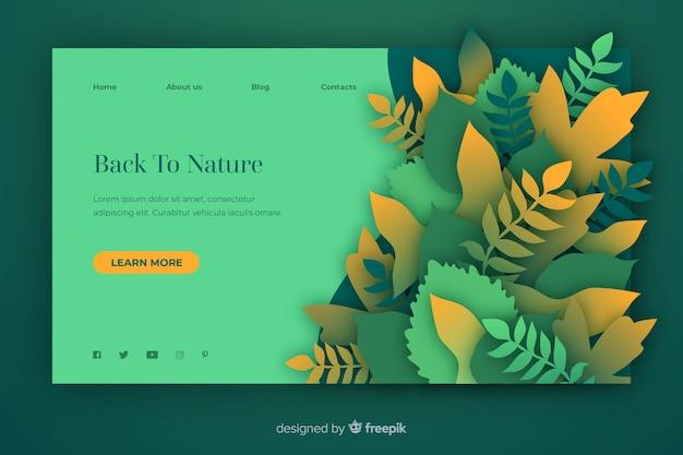 Modello di pagina di destinazione della natura in stile carta