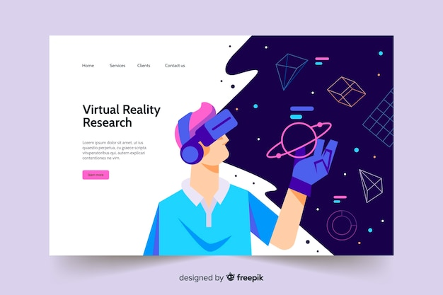 Modello di pagina di destinazione della realtà virtuale