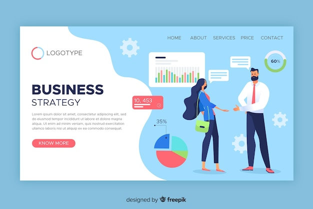 Modello di pagina di destinazione della strategia aziendale