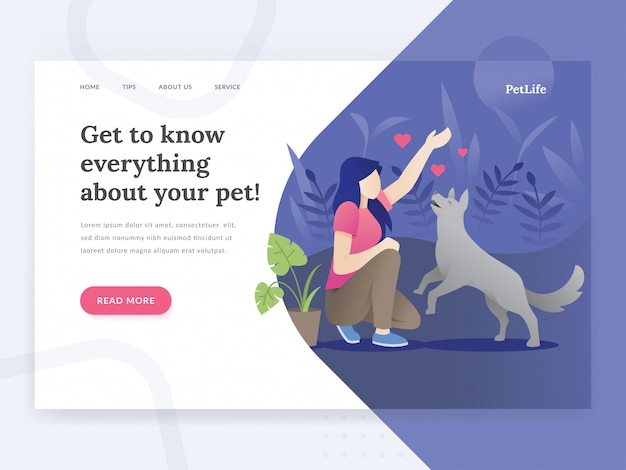 Modello di pagina di destinazione della vita dell'animale domestico