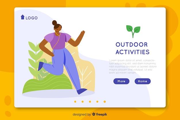 Modello di pagina di destinazione delle attività all'aperto