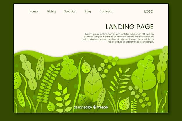 Modello di pagina di destinazione delle foglie verdi