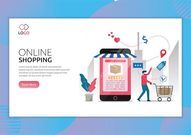 Modello di pagina di destinazione dello shopping online con uomo che fa negozi tramite illustrazione del telefono.