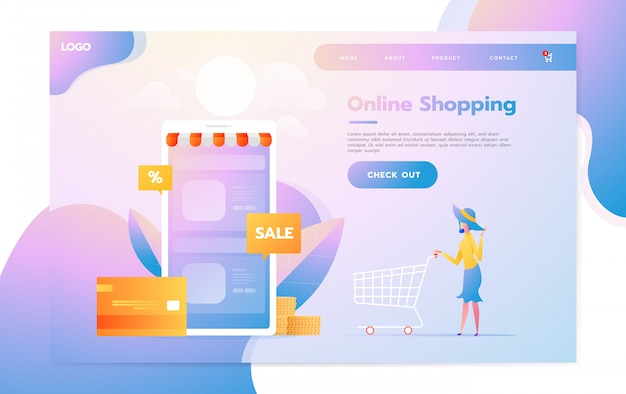 Modello di pagina di destinazione dello shopping online. moderno concetto di design piatto di progettazione di pagine web per sito web e sito web mobile. illustrazione vettoriale