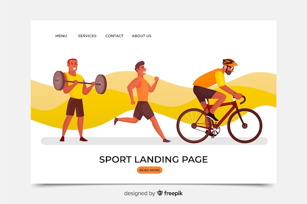 Modello di pagina di destinazione dello sport piatto