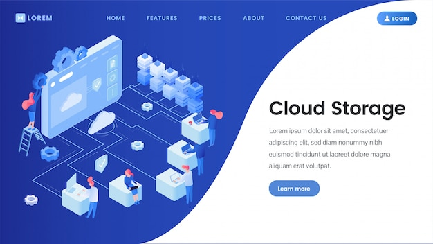 Modello di pagina di destinazione dello storage cloud