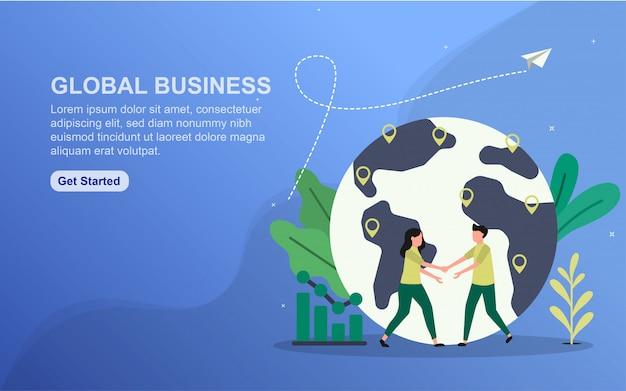 Modello di pagina di destinazione di affari globali.