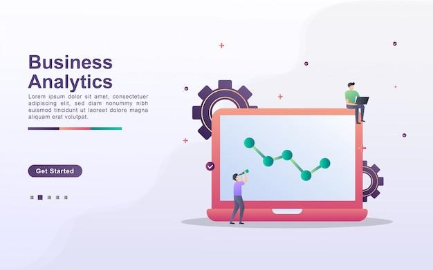 Modello di pagina di destinazione di analisi dei dati aziendali in stile effetto sfumato