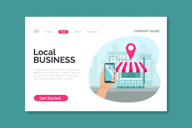 Modello di pagina di destinazione di attività commerciali locali