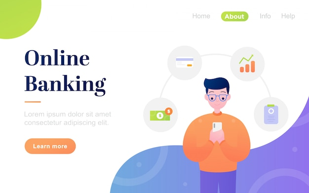 Modello di pagina di destinazione di banking online moderno e piatto
