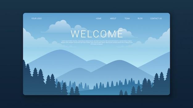 Modello di pagina di destinazione di benvenuto con montagne e paesaggio forestale