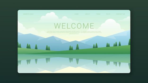 Modello di pagina di destinazione di benvenuto con paesaggio delle montagne