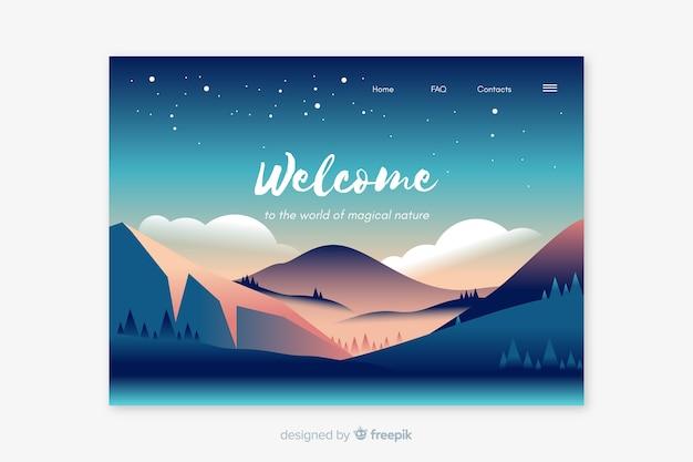Modello di pagina di destinazione di benvenuto con panorama