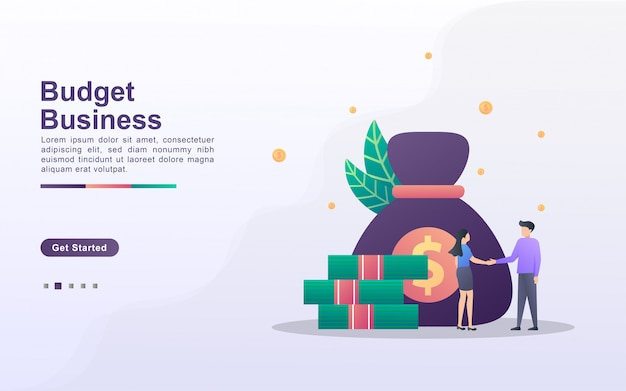 Modello di pagina di destinazione di budget business in stile effetto sfumato
