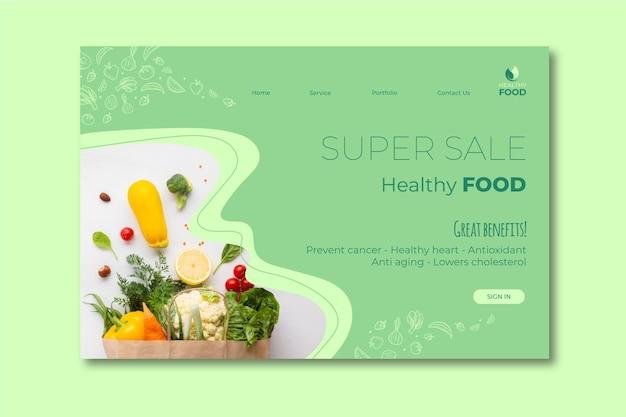 Modello di pagina di destinazione di cibo sano