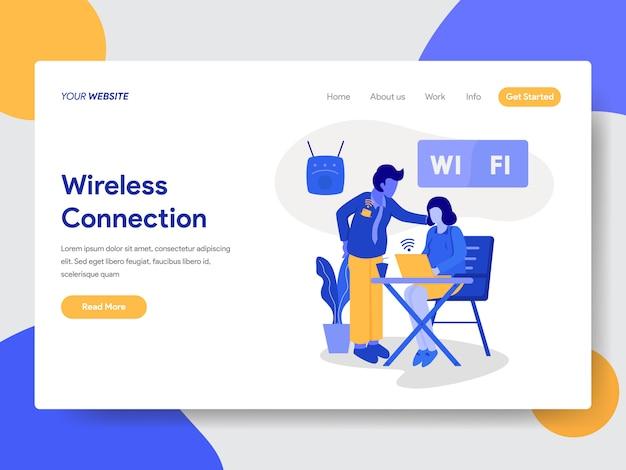 Modello di pagina di destinazione di connessione wireless e illustrazione wifi