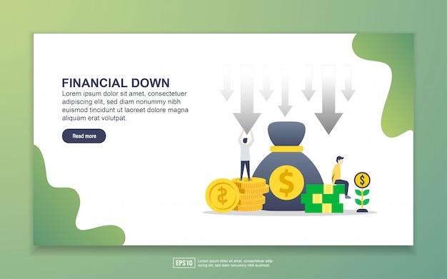 Modello di pagina di destinazione di down finanziario