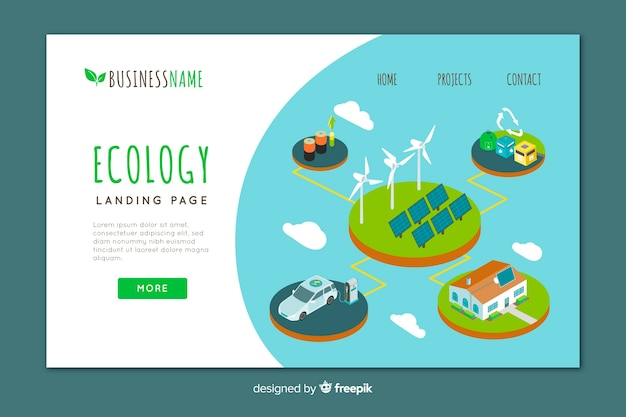 Modello di pagina di destinazione di ecologia isometrica