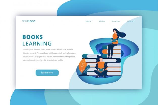 Modello di pagina di destinazione di educazione con i libri di apprendimento a tema