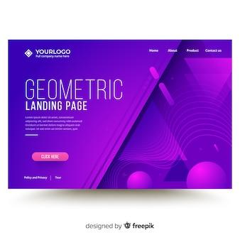 Modello di pagina di destinazione di forme geometriche